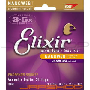 Elixir Phosphor Bronze Acoustic Strings Nanoweb Custom Light