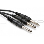 Hosa CYS-105 Y Cable, 1/4 in TRS to Dual 1/4 in TRS, 5 ft