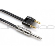 Hosa SKZ-630BN Speaker Cable 1/4 in TS to Dual Banana, Black Zip, 30 ft