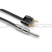 Hosa SKZ-625BN Speaker Cable 1/4 in TS to Dual Banana, Black Zip, 25 ft